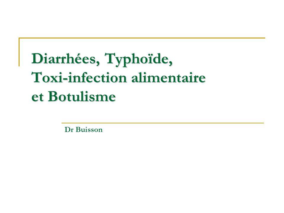 Diarrhées, Typhoïde, Toxi-infection alimentaire et Botulisme Dr Buisson