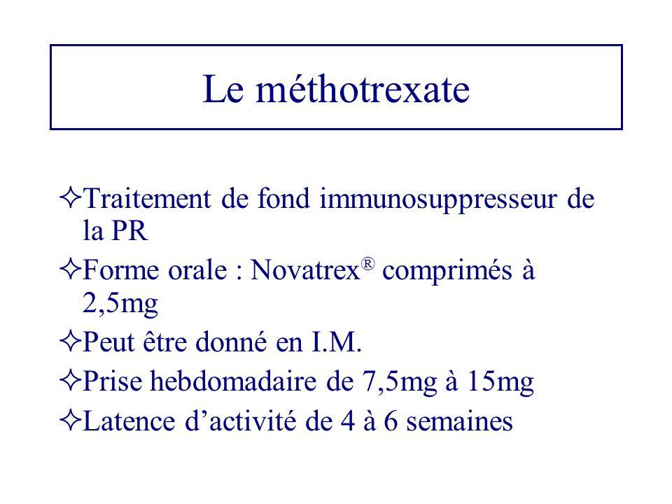 Le méthotrexate  Traitement de fond immunosuppresseur de la PR  Forme orale : Novatrex ® comprimés à 2,5mg  Peut être donné en I.M.  Prise hebdoma