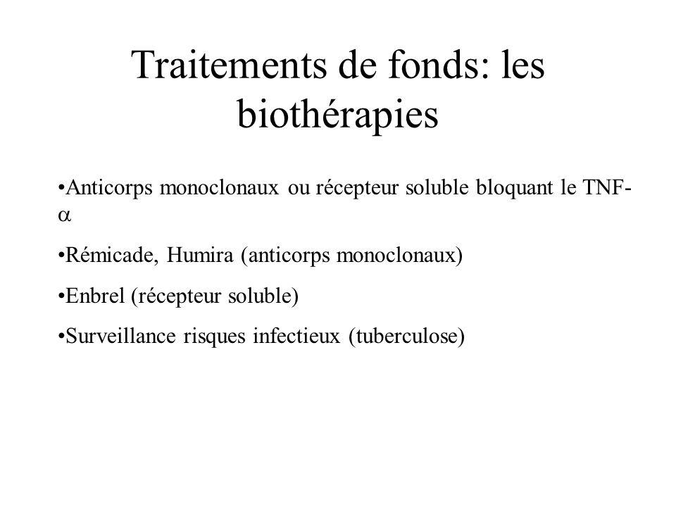 Traitements de fonds: les biothérapies Anticorps monoclonaux ou récepteur soluble bloquant le TNF-  Rémicade, Humira (anticorps monoclonaux) Enbrel (