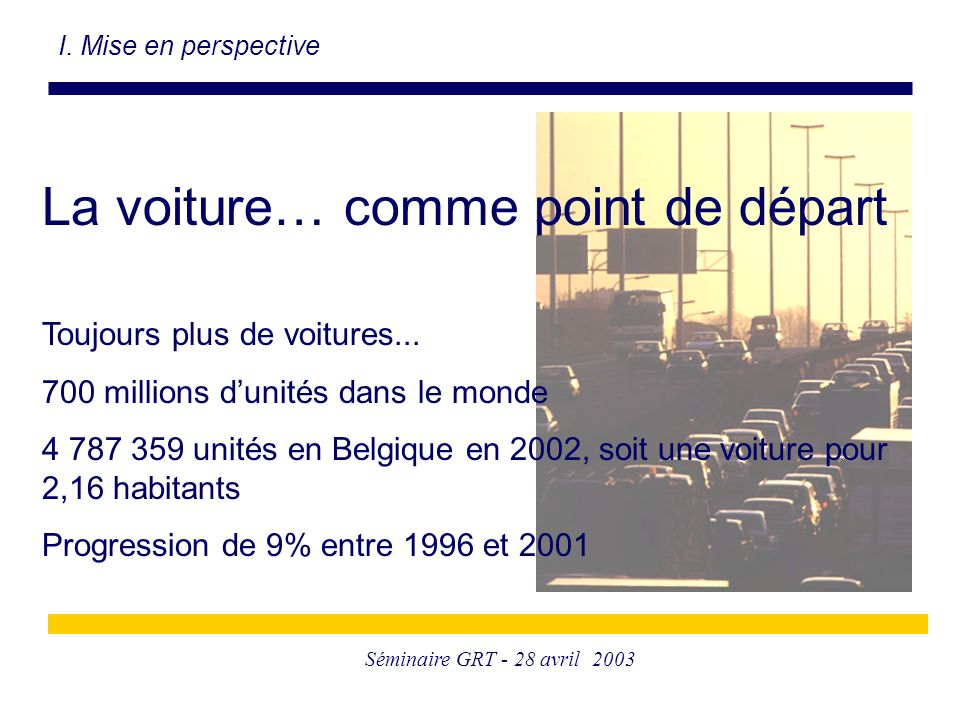 Séminaire GRT - 28 avril 2003 I. Mise en perspective La voiture… comme point de départ Toujours plus de voitures... 700 millions d'unités dans le mond