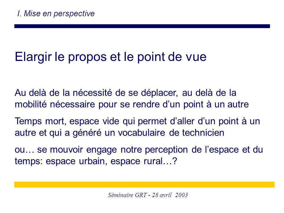 Séminaire GRT - 28 avril 2003 Elargir le propos et le point de vue Au delà de la nécessité de se déplacer, au delà de la mobilité nécessaire pour se r