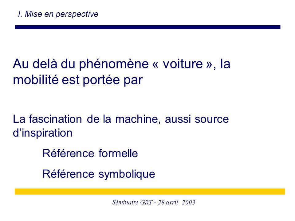 Séminaire GRT - 28 avril 2003 Au delà du phénomène « voiture », la mobilité est portée par La fascination de la machine, aussi source d'inspiration Référence formelle Référence symbolique I.