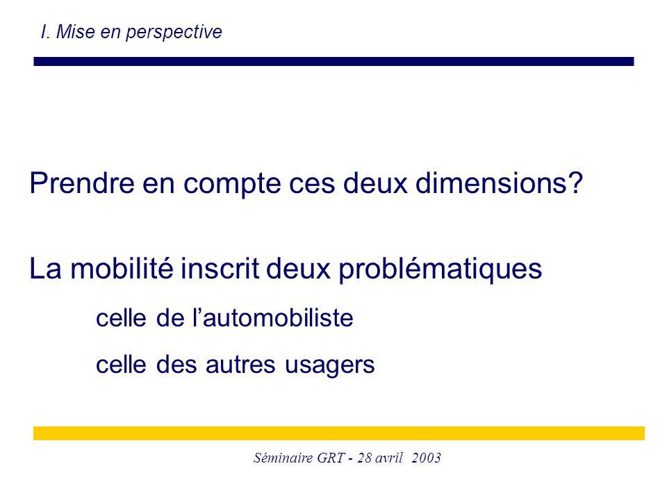 Séminaire GRT - 28 avril 2003 Prendre en compte ces deux dimensions? La mobilité inscrit deux problématiques celle de l'automobiliste celle des autres