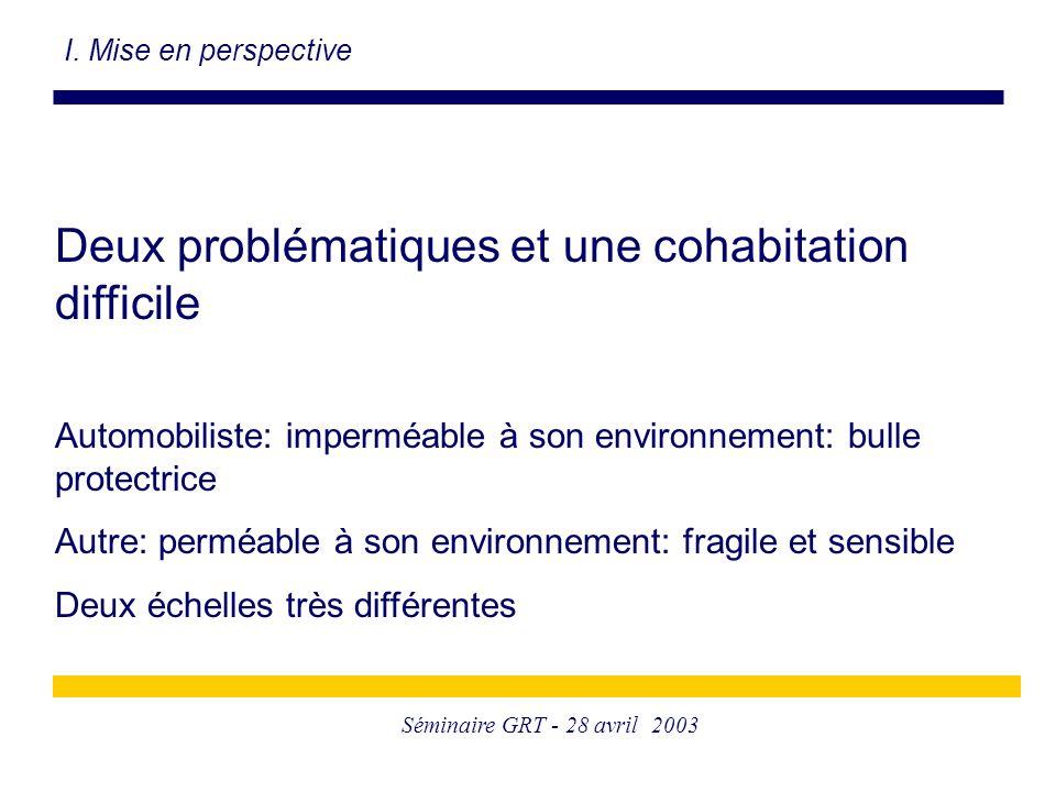 Séminaire GRT - 28 avril 2003 Deux problématiques et une cohabitation difficile Automobiliste: imperméable à son environnement: bulle protectrice Autr