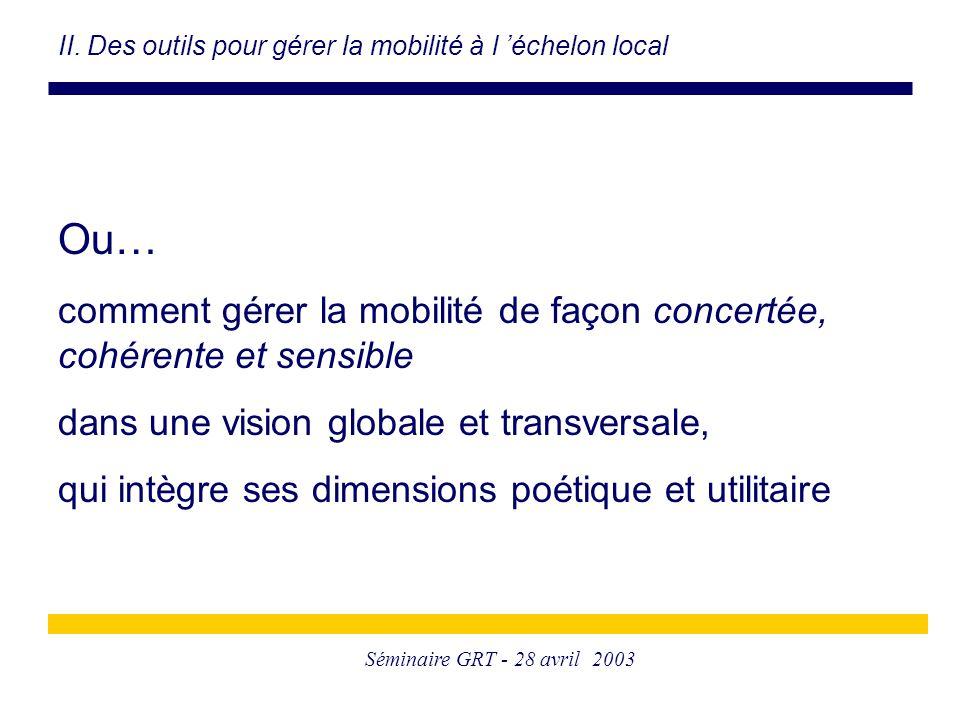 Séminaire GRT - 28 avril 2003 Ou… comment gérer la mobilité de façon concertée, cohérente et sensible dans une vision globale et transversale, qui intègre ses dimensions poétique et utilitaire II.
