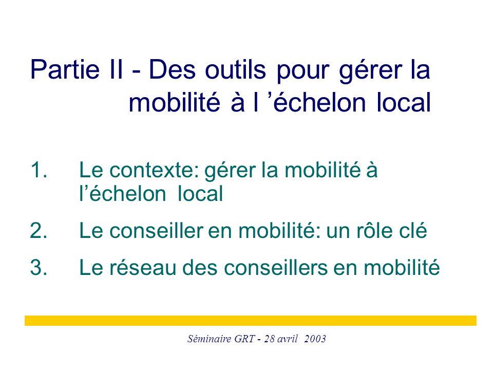 Séminaire GRT - 28 avril 2003 1. Le contexte: gérer la mobilité à l'échelon local 2. Le conseiller en mobilité: un rôle clé 3. Le réseau des conseille