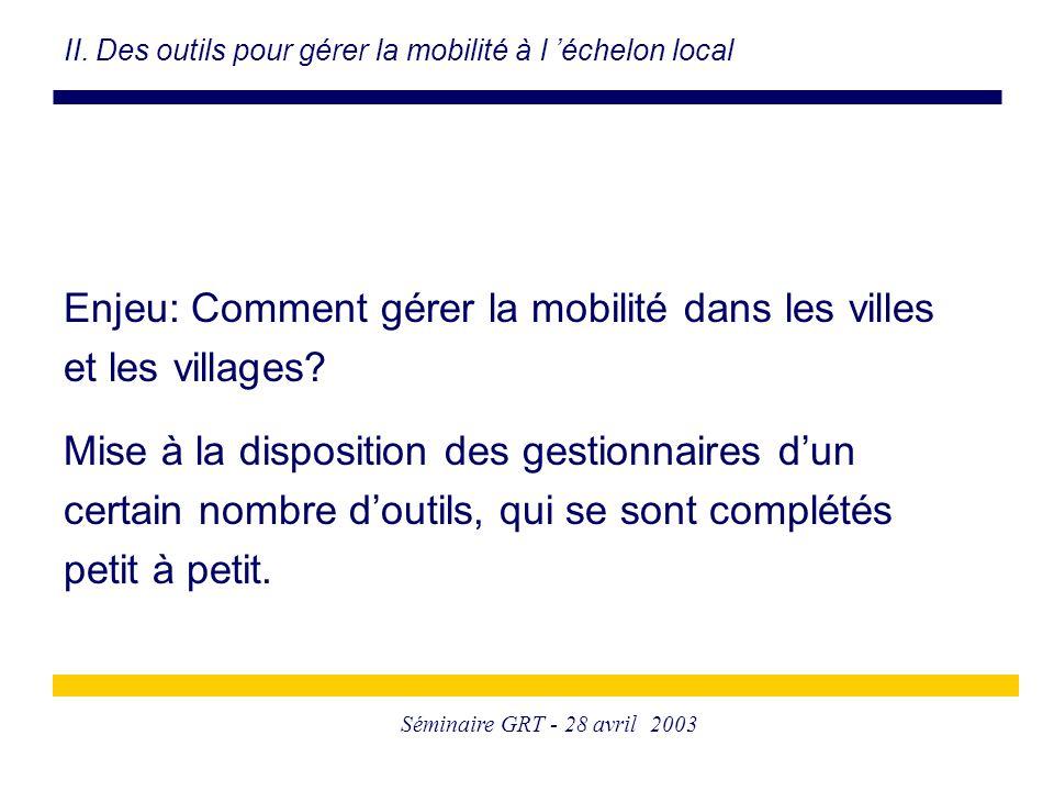 Séminaire GRT - 28 avril 2003 Enjeu: Comment gérer la mobilité dans les villes et les villages? Mise à la disposition des gestionnaires d'un certain n