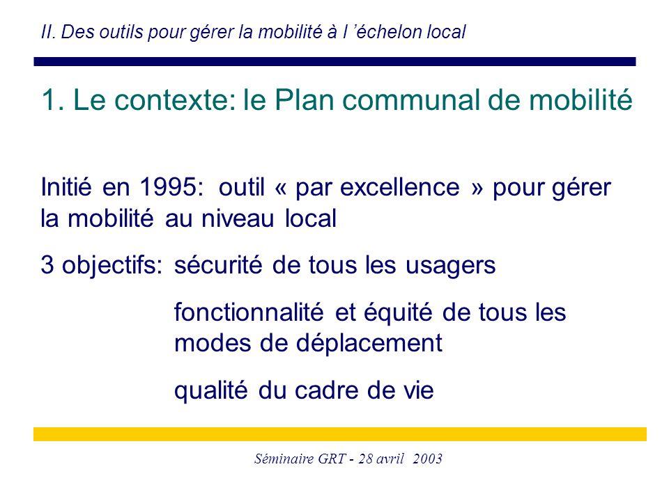 Séminaire GRT - 28 avril 2003 1. Le contexte: le Plan communal de mobilité Initié en 1995: outil « par excellence » pour gérer la mobilité au niveau l