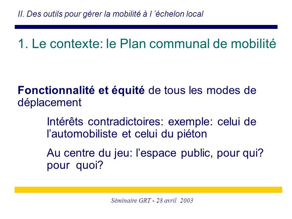 Séminaire GRT - 28 avril 2003 Fonctionnalité et équité de tous les modes de déplacement Intérêts contradictoires: exemple: celui de l'automobiliste et