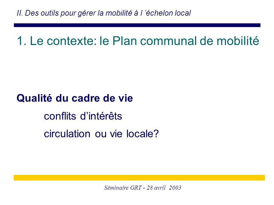 Séminaire GRT - 28 avril 2003 Qualité du cadre de vie conflits d'intérêts circulation ou vie locale? II. Des outils pour gérer la mobilité à l 'échelo
