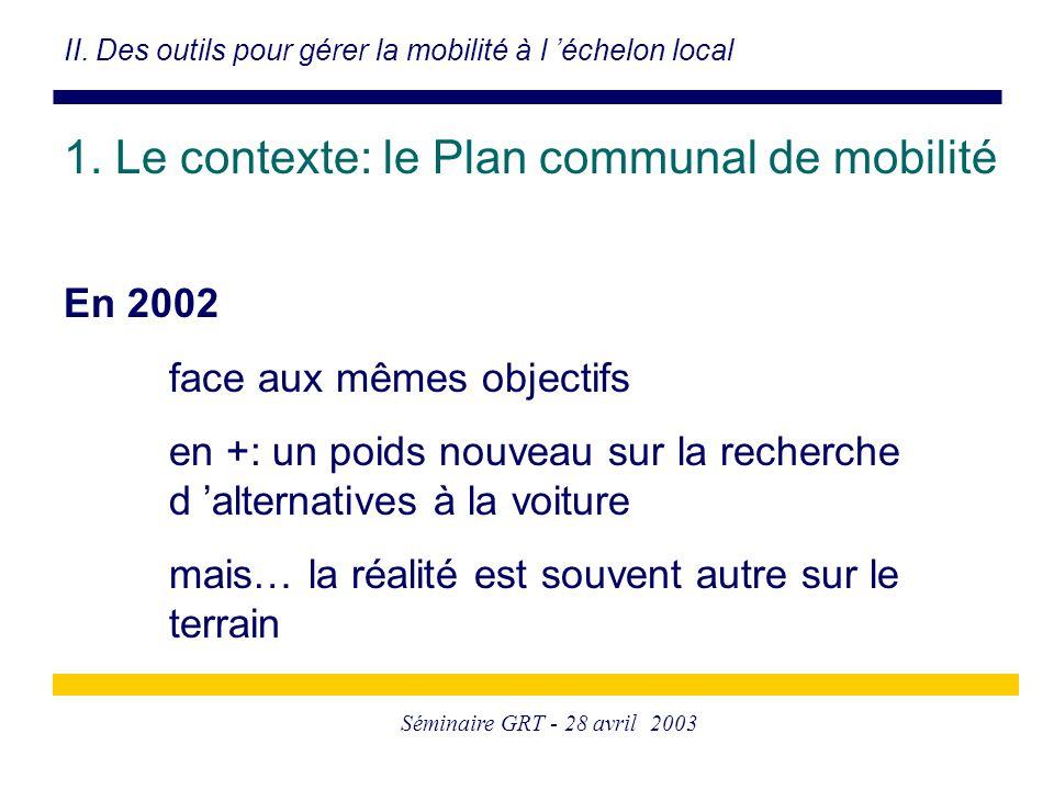 Séminaire GRT - 28 avril 2003 En 2002 face aux mêmes objectifs en +: un poids nouveau sur la recherche d 'alternatives à la voiture mais… la réalité est souvent autre sur le terrain II.