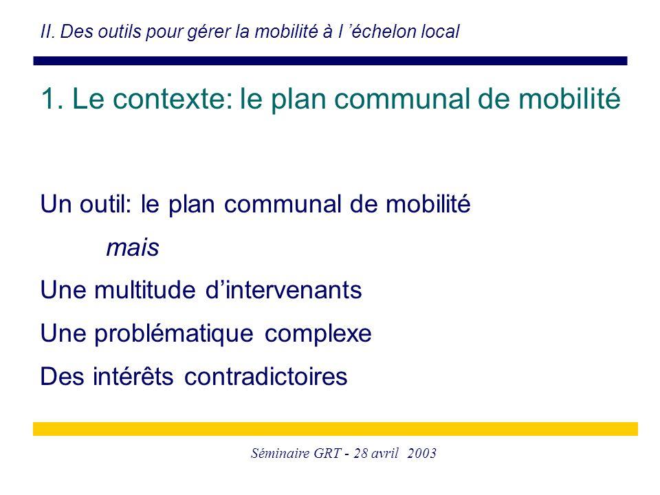 Séminaire GRT - 28 avril 2003 Un outil: le plan communal de mobilité mais Une multitude d'intervenants Une problématique complexe Des intérêts contradictoires II.