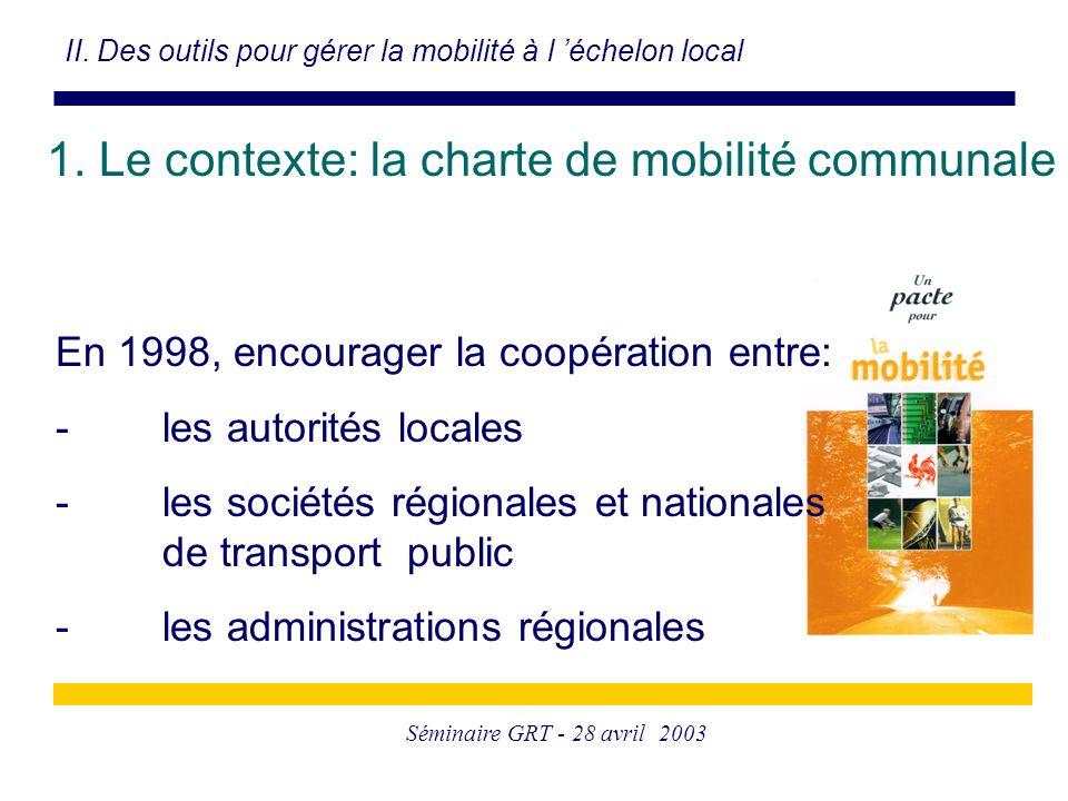 Séminaire GRT - 28 avril 2003 1. Le contexte: la charte de mobilité communale II. Des outils pour gérer la mobilité à l 'échelon local En 1998, encour