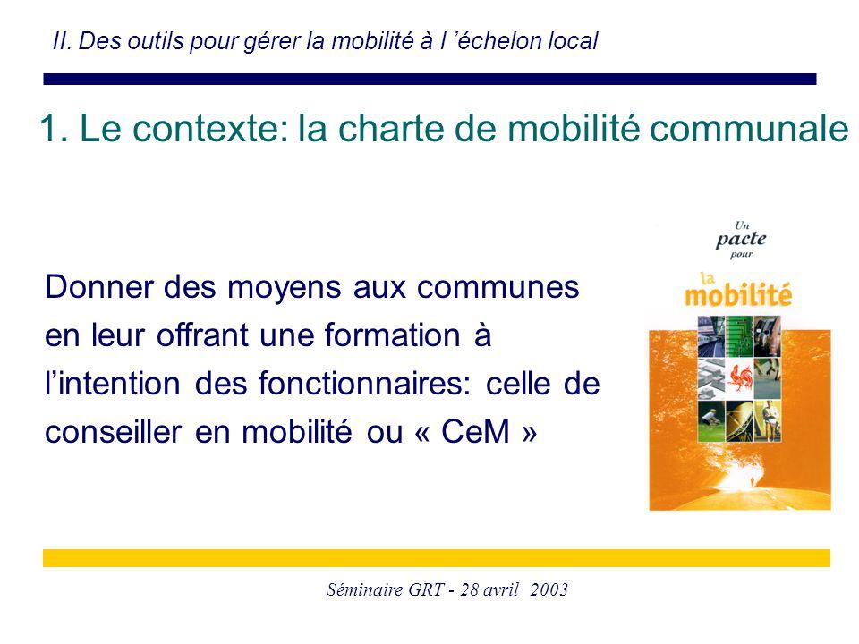 Séminaire GRT - 28 avril 2003 1. Le contexte: la charte de mobilité communale II. Des outils pour gérer la mobilité à l 'échelon local Donner des moye