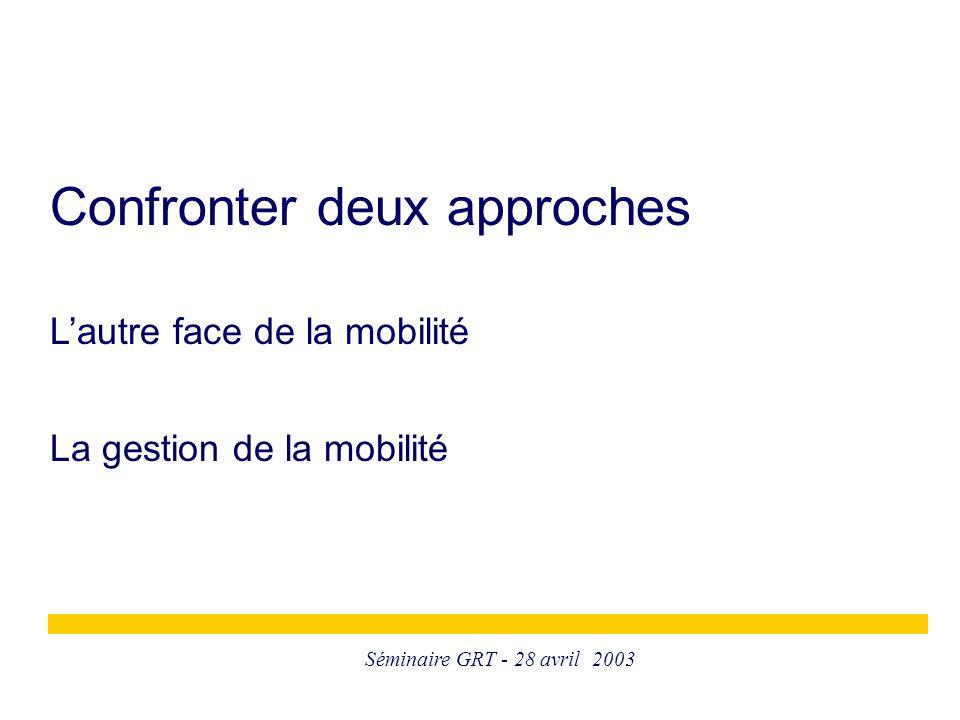 Séminaire GRT - 28 avril 2003 Confronter deux approches L'autre face de la mobilité La gestion de la mobilité