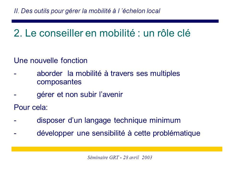 Séminaire GRT - 28 avril 2003 2. Le conseiller en mobilité : un rôle clé Une nouvelle fonction -aborder la mobilité à travers ses multiples composante
