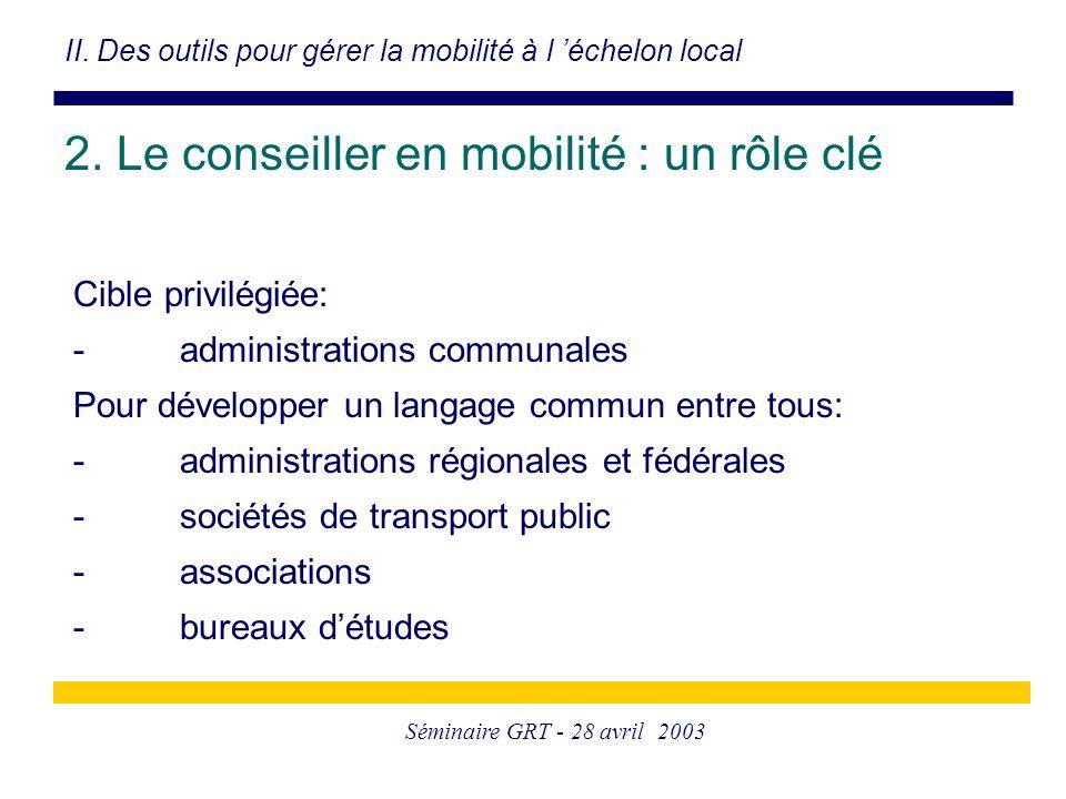 Séminaire GRT - 28 avril 2003 Cible privilégiée: -administrations communales Pour développer un langage commun entre tous: -administrations régionales