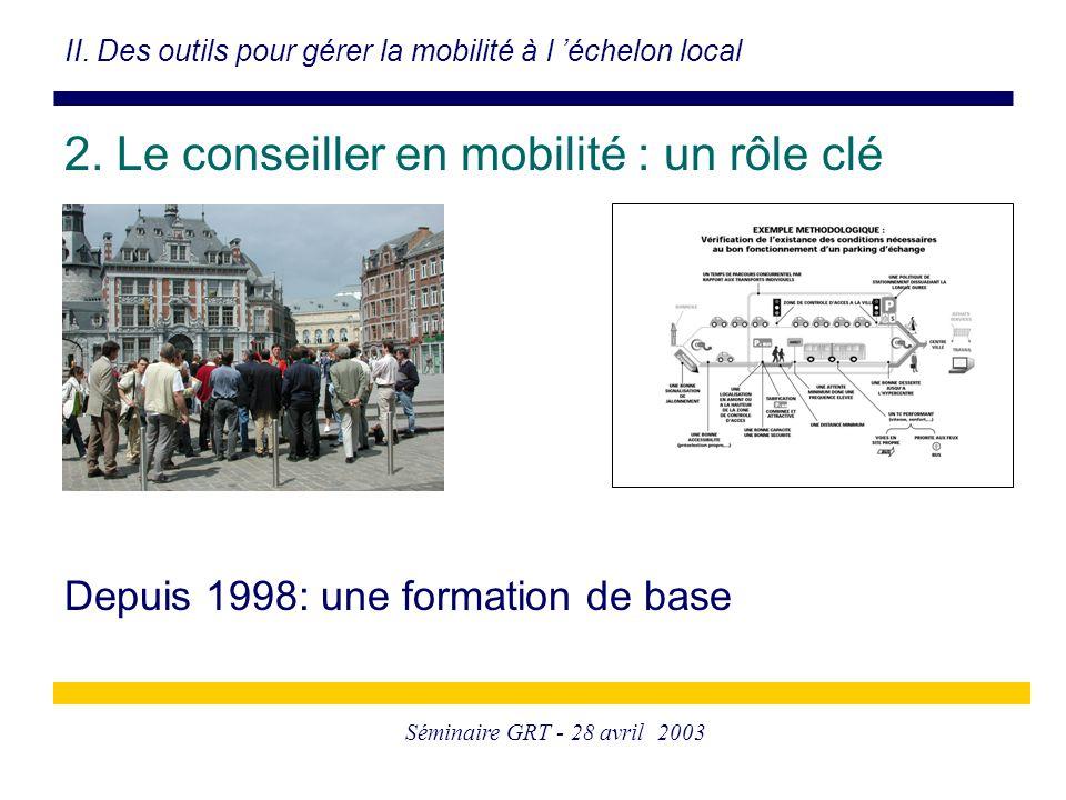 Séminaire GRT - 28 avril 2003 Depuis 1998: une formation de base II. Des outils pour gérer la mobilité à l 'échelon local 2. Le conseiller en mobilité