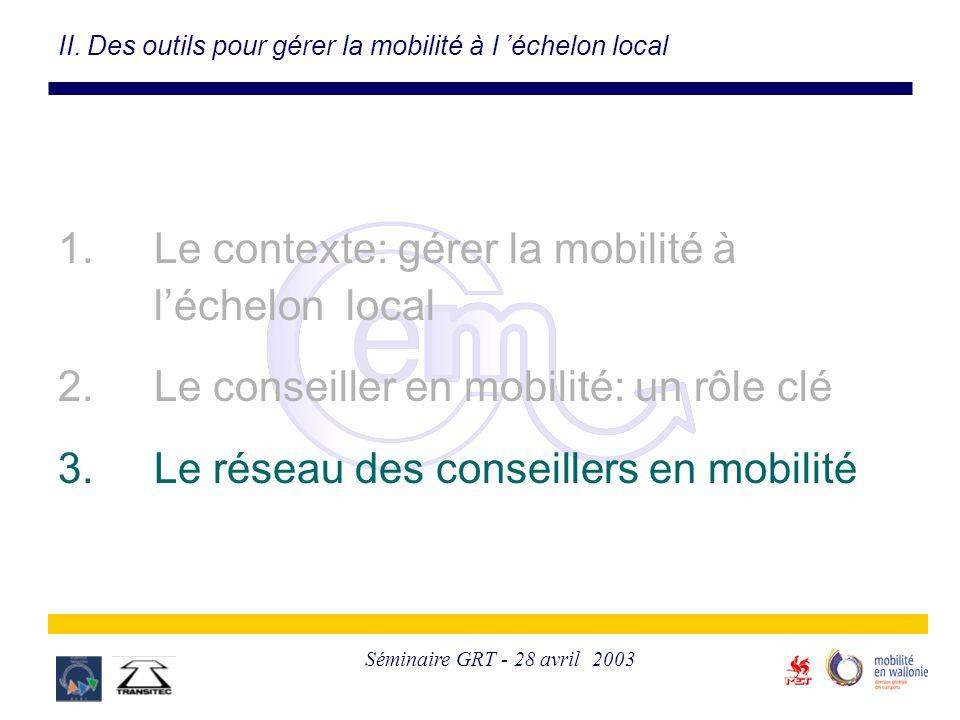 Séminaire GRT - 28 avril 2003 II. Des outils pour gérer la mobilité à l 'échelon local 1. Le contexte: gérer la mobilité à l'échelon local 2. Le conse