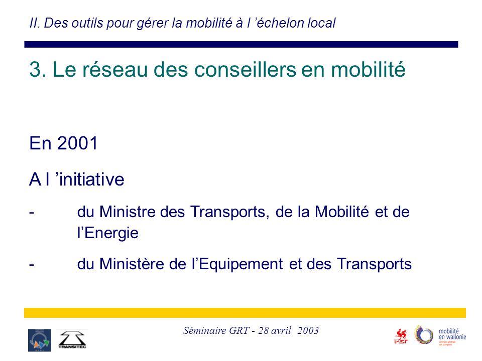 Séminaire GRT - 28 avril 2003 3. Le réseau des conseillers en mobilité En 2001 A l 'initiative -du Ministre des Transports, de la Mobilité et de l'Ene