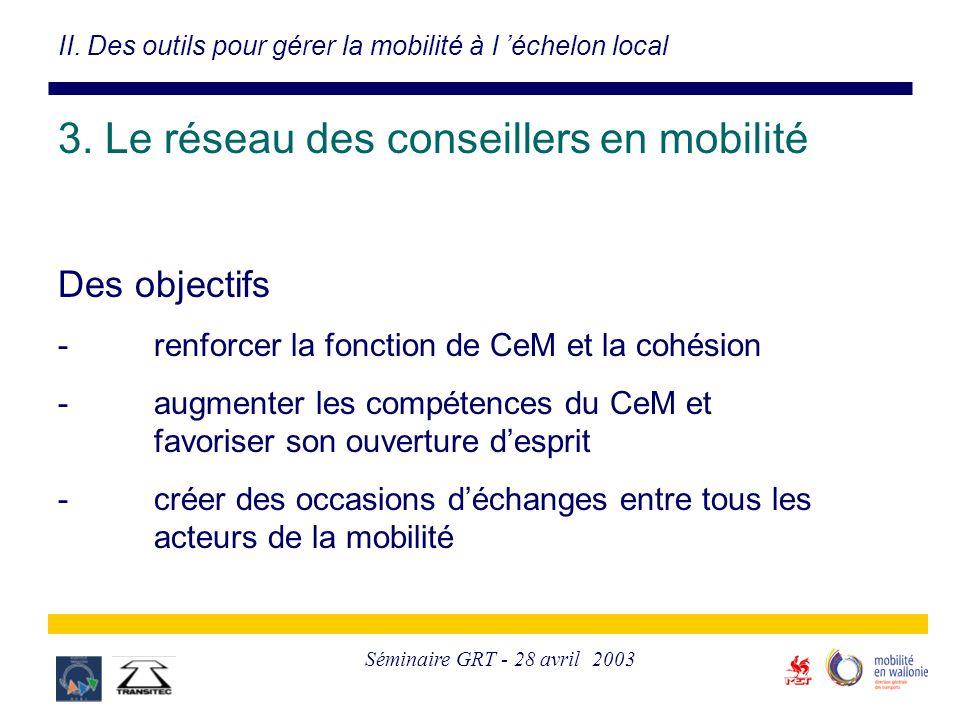 Séminaire GRT - 28 avril 2003 3. Le réseau des conseillers en mobilité Des objectifs -renforcer la fonction de CeM et la cohésion -augmenter les compé