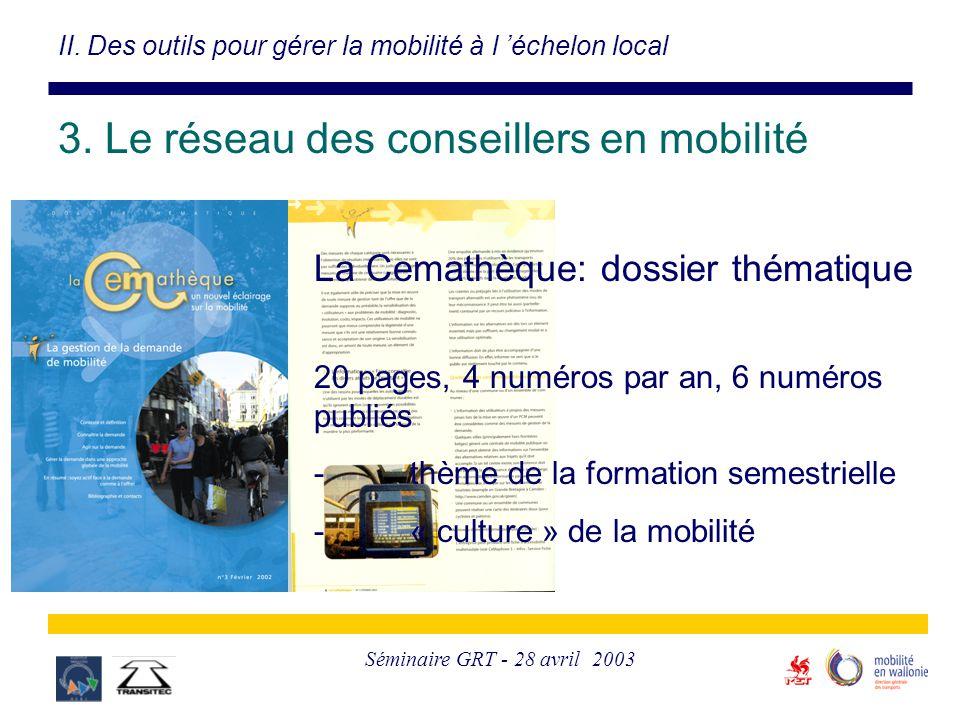 Séminaire GRT - 28 avril 2003 II. Des outils pour gérer la mobilité à l 'échelon local 3. Le réseau des conseillers en mobilité La Cemathèque: dossier