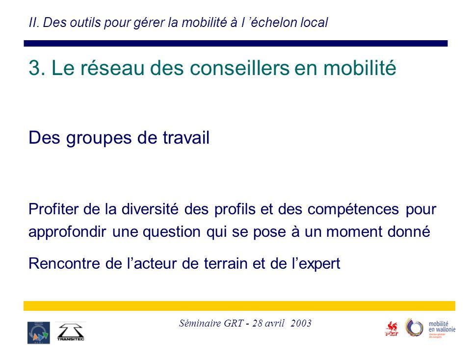 Séminaire GRT - 28 avril 2003 Des groupes de travail Profiter de la diversité des profils et des compétences pour approfondir une question qui se pose à un moment donné Rencontre de l'acteur de terrain et de l'expert II.