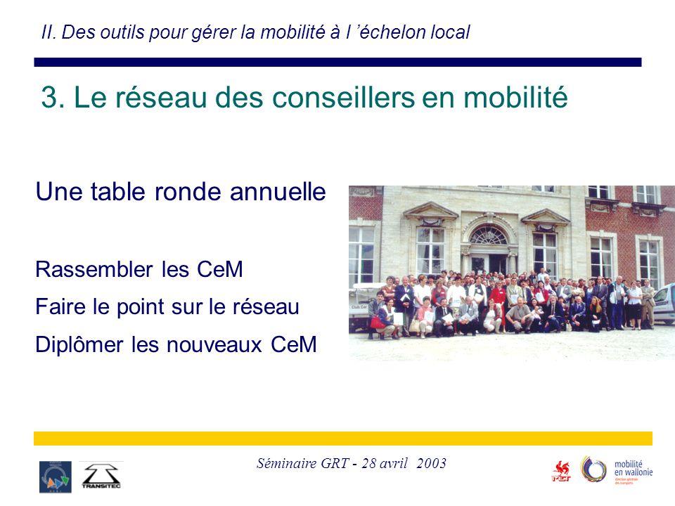 Séminaire GRT - 28 avril 2003 Une table ronde annuelle Rassembler les CeM Faire le point sur le réseau Diplômer les nouveaux CeM II. Des outils pour g