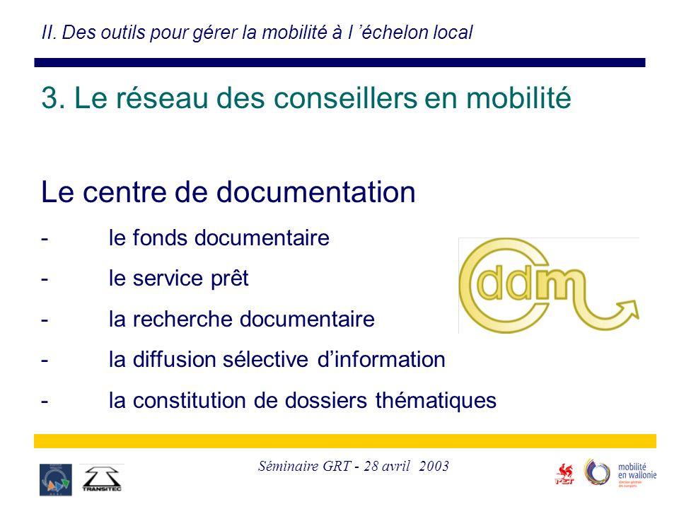 Séminaire GRT - 28 avril 2003 Le centre de documentation -le fonds documentaire -le service prêt -la recherche documentaire -la diffusion sélective d'information -la constitution de dossiers thématiques II.