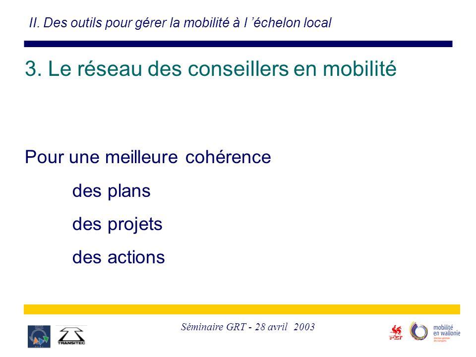Séminaire GRT - 28 avril 2003 II. Des outils pour gérer la mobilité à l 'échelon local 3. Le réseau des conseillers en mobilité Pour une meilleure coh