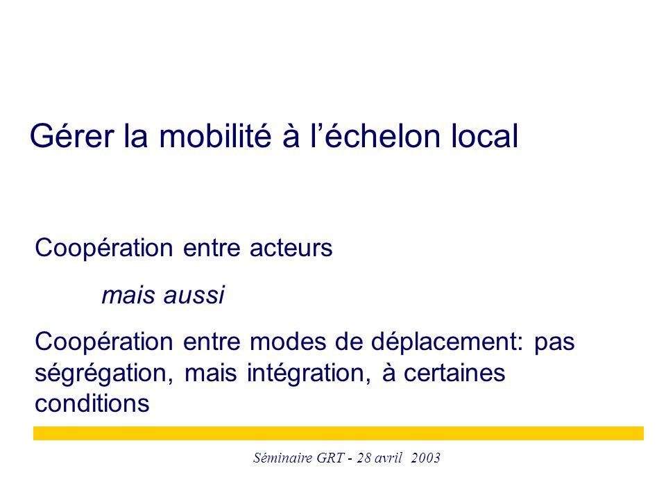 Séminaire GRT - 28 avril 2003 Gérer la mobilité à l'échelon local Coopération entre acteurs mais aussi Coopération entre modes de déplacement: pas ségrégation, mais intégration, à certaines conditions