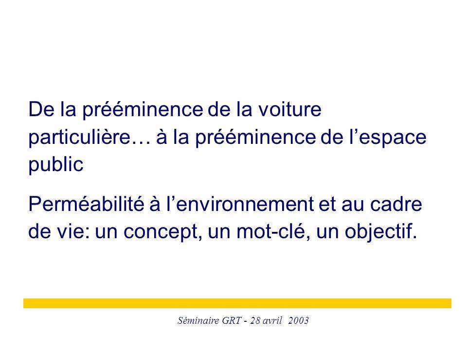 Séminaire GRT - 28 avril 2003 De la prééminence de la voiture particulière… à la prééminence de l'espace public Perméabilité à l'environnement et au cadre de vie: un concept, un mot-clé, un objectif.
