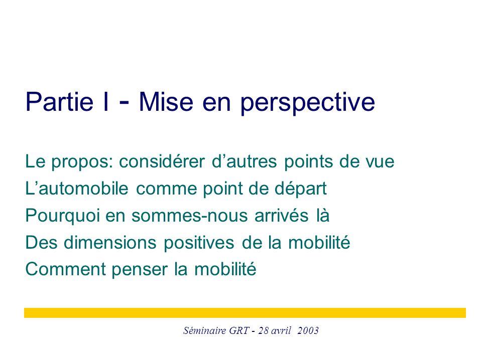 Séminaire GRT - 28 avril 2003 Partie I - Mise en perspective Le propos: considérer d'autres points de vue L'automobile comme point de départ Pourquoi