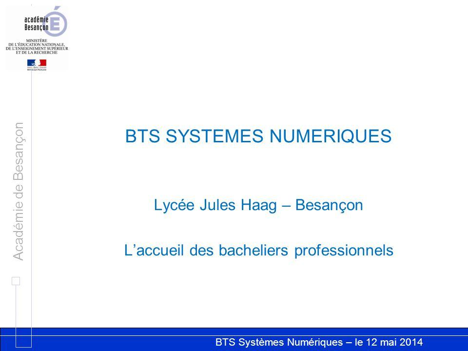 BTS Systèmes Numériques – le 12 mai 2014 Académie de Besançon BTS SYSTEMES NUMERIQUES Lycée Jules Haag – Besançon L'accueil des bacheliers professionnels