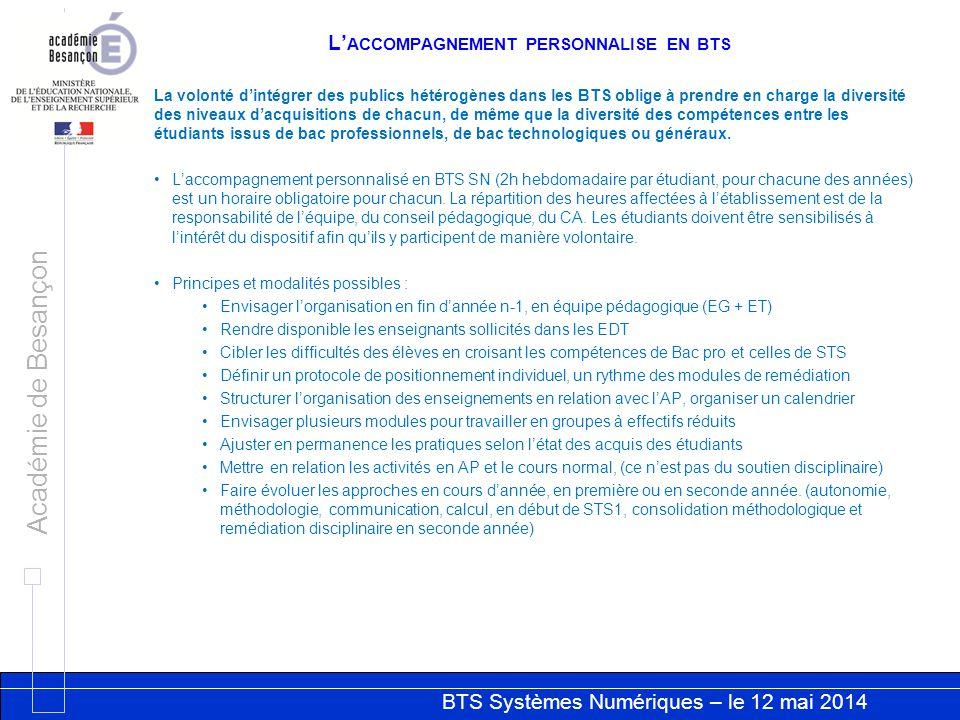 BTS Systèmes Numériques – le 12 mai 2014 Académie de Besançon L' ACCOMPAGNEMENT PERSONNALISE EN BTS La volonté d'intégrer des publics hétérogènes dans les BTS oblige à prendre en charge la diversité des niveaux d'acquisitions de chacun, de même que la diversité des compétences entre les étudiants issus de bac professionnels, de bac technologiques ou généraux.