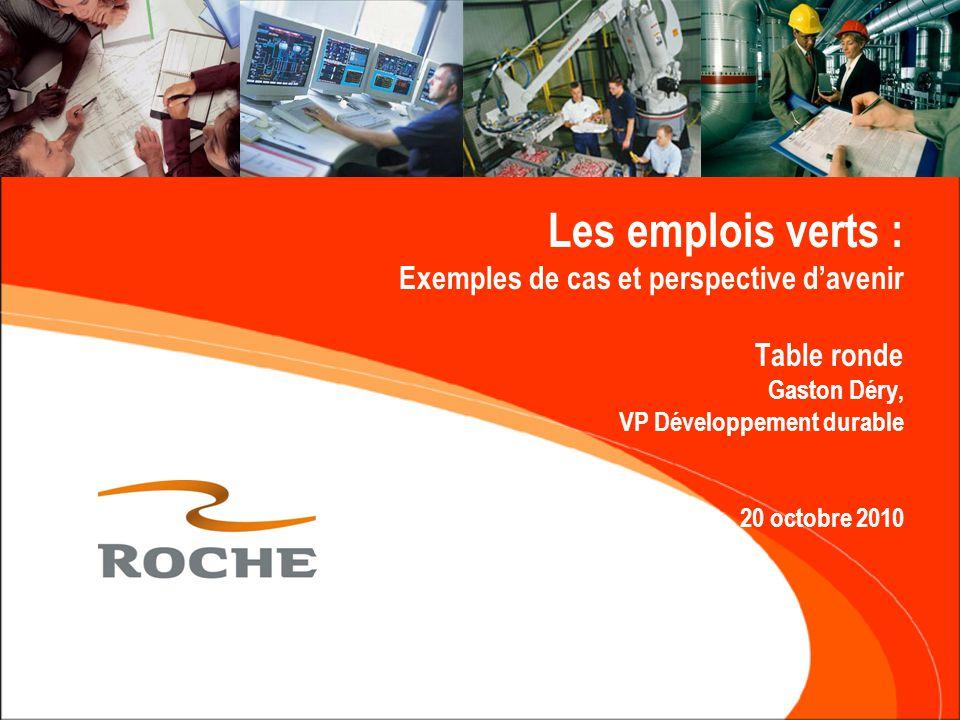 Plan de l'exposé  Les emplois « verts » chez Roche  Le centre d'excellence en DD de Roche  Le marché de l'emploi en DD  L'importance du DD pour les entreprises  Les compétences clef et les comportements recherchés