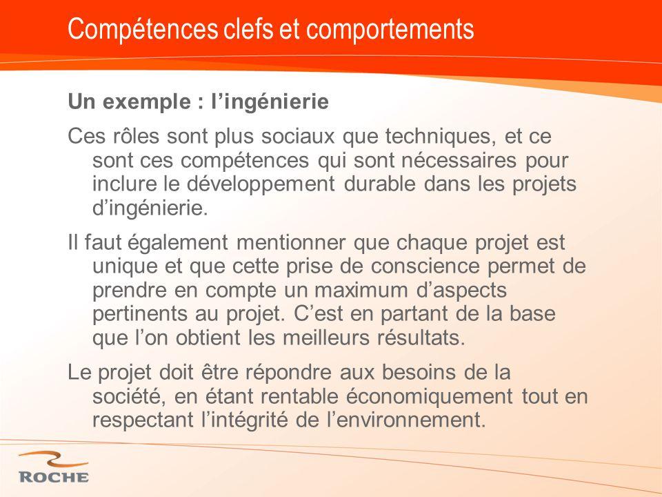 Compétences clefs et comportements Un exemple : l'ingénierie Ces rôles sont plus sociaux que techniques, et ce sont ces compétences qui sont nécessaires pour inclure le développement durable dans les projets d'ingénierie.
