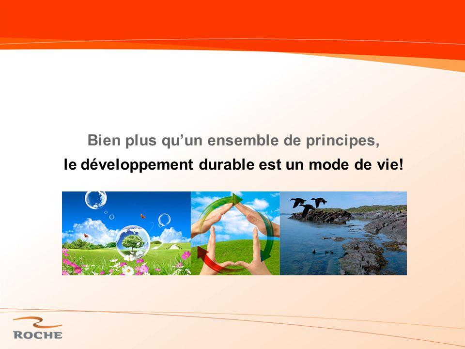Bien plus qu'un ensemble de principes, le développement durable est un mode de vie!