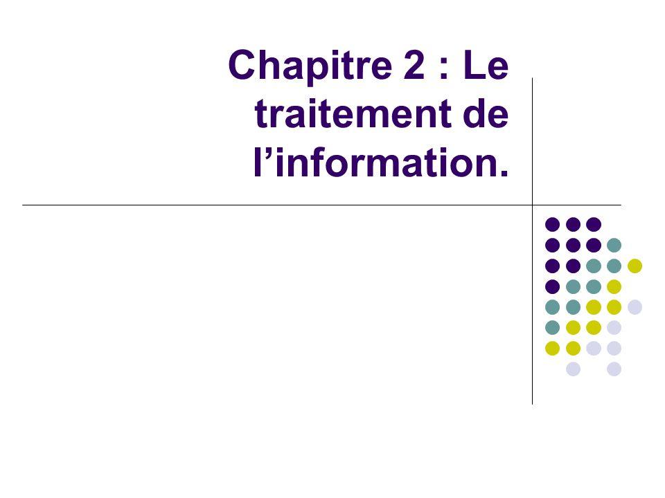 Chapitre 2 : Le traitement de l'information.