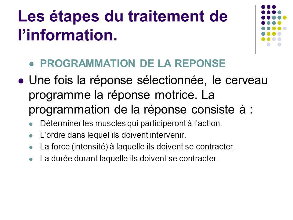 Les étapes du traitement de l'information. PROGRAMMATION DE LA REPONSE Une fois la réponse sélectionnée, le cerveau programme la réponse motrice. La p