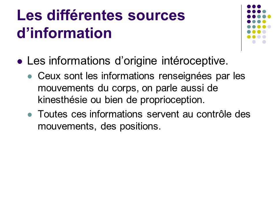Les informations d'origine intéroceptive. Ceux sont les informations renseignées par les mouvements du corps, on parle aussi de kinesthésie ou bien de