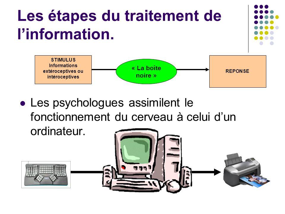 Les étapes du traitement de l'information. Les psychologues assimilent le fonctionnement du cerveau à celui d'un ordinateur. STIMULUS Informations ext