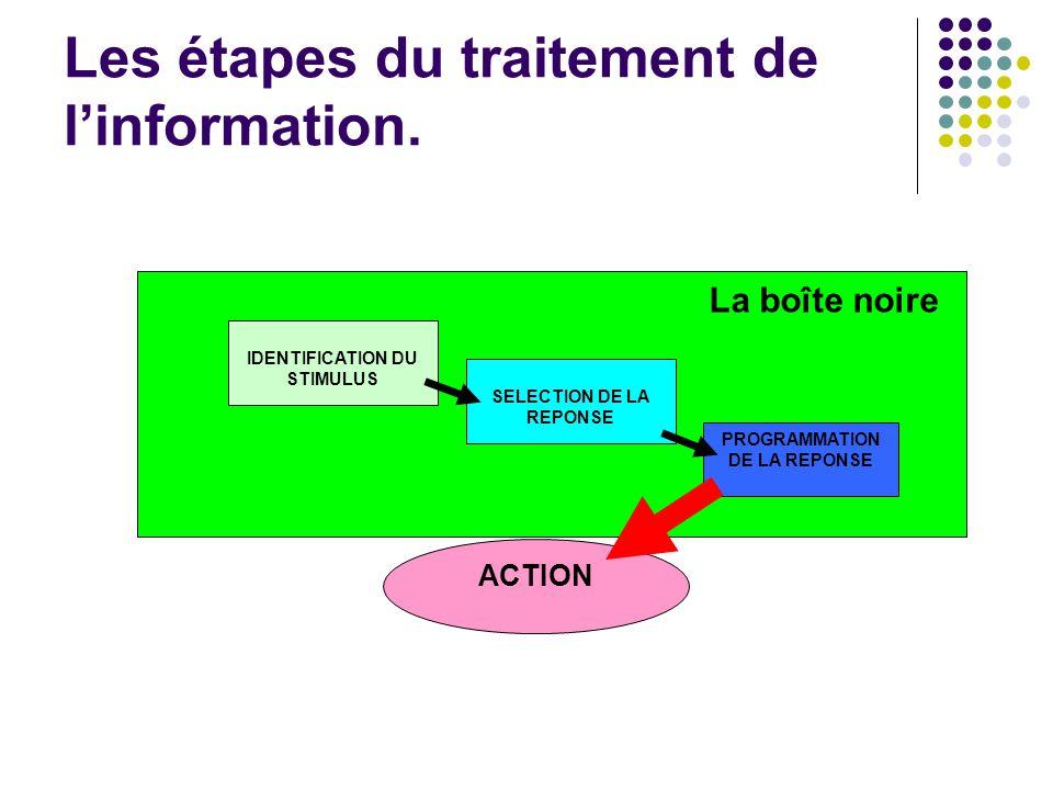 Les 3 étapes essentielles du traitement de l'information : IDENTIFICATION DU STIMULUS SELECTION DE LA REPONSE PROGRAMMATION DE LA REPONSE Les étapes du traitement de l'information.