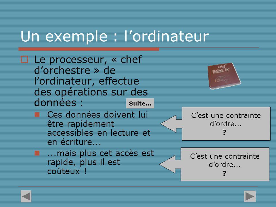 La structure de l'ordinateur est le produit de cette double contrainte  Le processeur opère uniquement sur des registres de petite taille auxquels il accède presque instantanément (technologie la plus coûteuse).