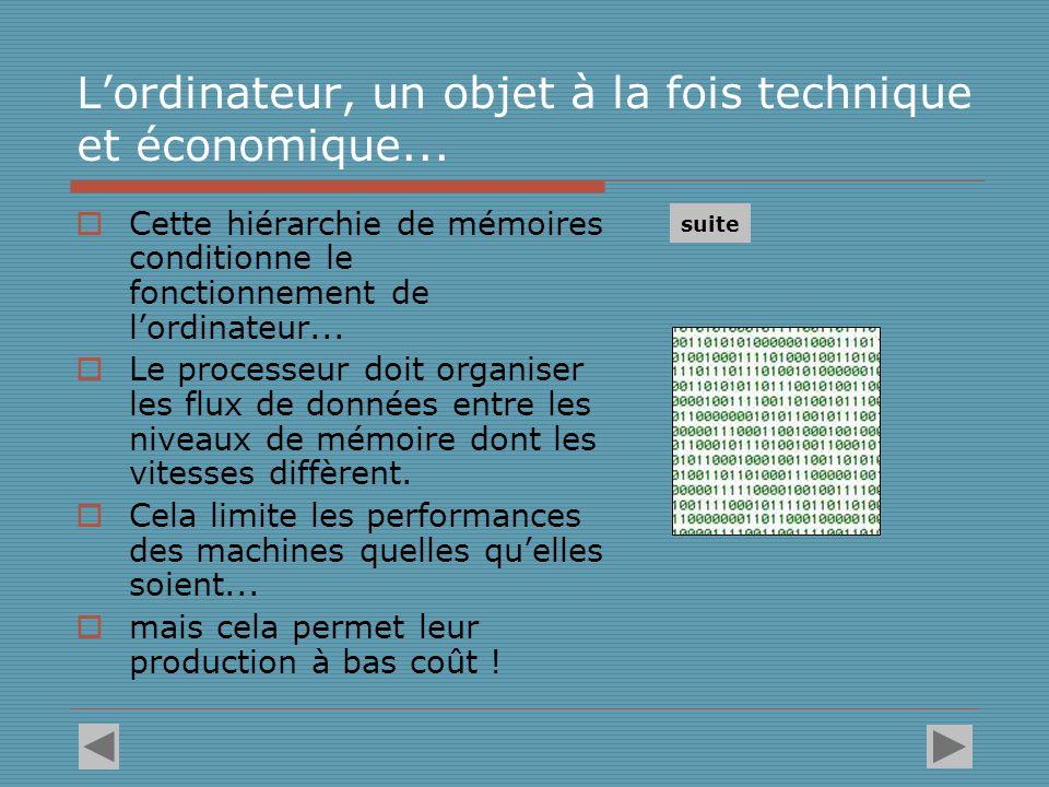 D'autres aspects de l'ordinateur reflètent l'intégration de la contrainte économique L'ordinateur personnel (PC) conçu comme machine généraliste Système informatiques sur mesure, dédiés à un usage particulier on est passé à...