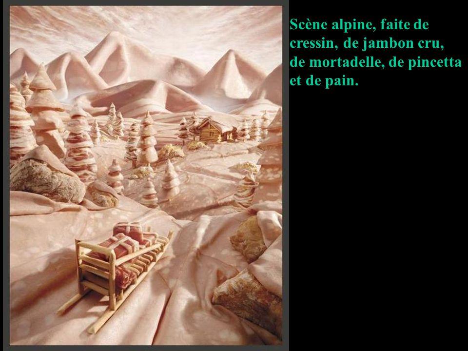 Scène alpine, faite de cressin, de jambon cru, de mortadelle, de pincetta et de pain.