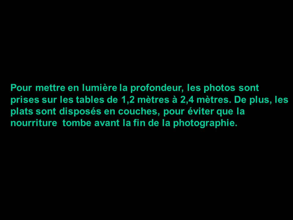 Pour mettre en lumière la profondeur, les photos sont prises sur les tables de 1,2 mètres à 2,4 mètres. De plus, les plats sont disposés en couches, p