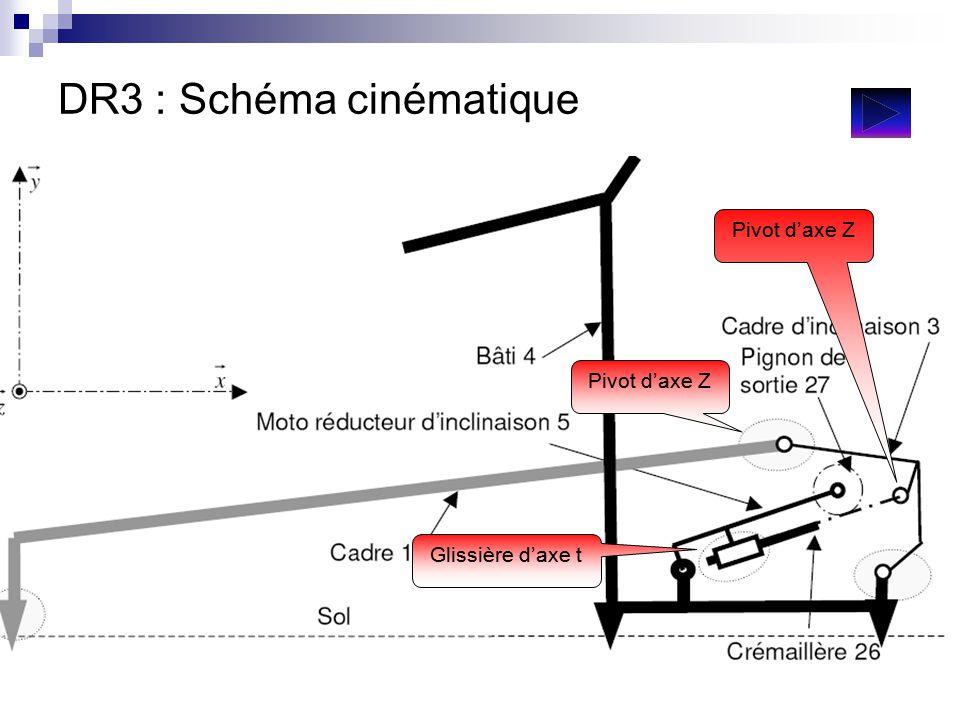 DR3 : Schéma cinématique Pivot d'axe Z Glissière d'axe t