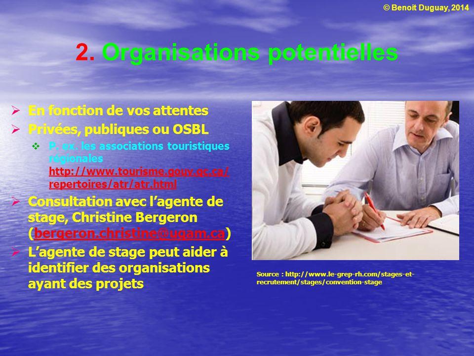 © Benoit Duguay, 2014 2. Organisations potentielles  En fonction de vos attentes  Privées, publiques ou OSBL  P. ex. les associations touristiques