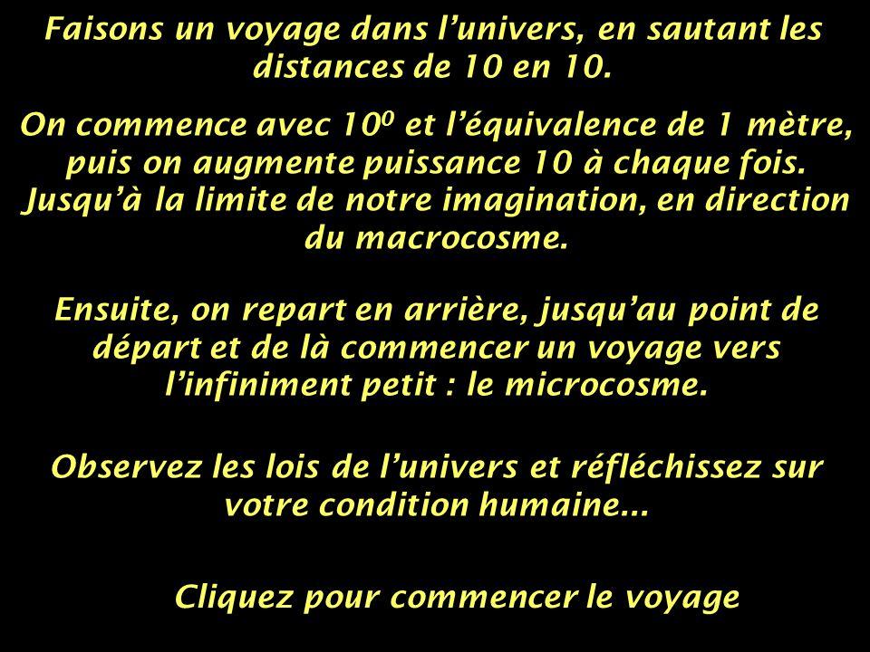 Faisons un voyage dans l'univers, en sautant les distances de 10 en 10.